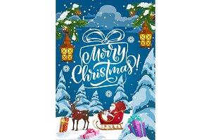 Christmas sleigh with Santa, gifts