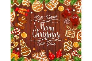 Christmas gingerbread cookie on wood