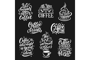 Coffee cup, beans vector lettering