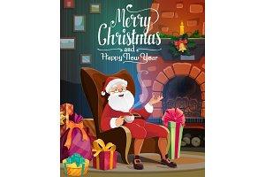 Santa, Christmas fireplace, gift bag