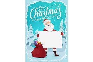 Santa, Christmas gift and blank sign