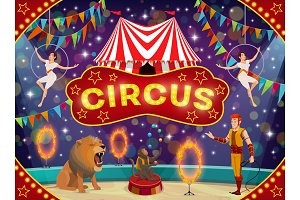 Circus animal trainer and acrobats