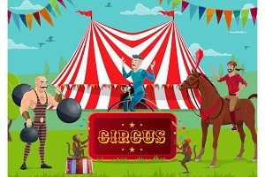 Circus show, performers, animals