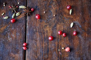top view of scattered cranberries, c