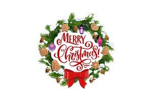 Merry Christmas, fir wreath, cookies