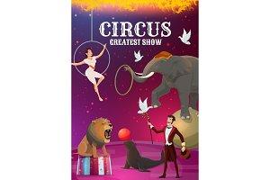 Big top circus, acrobat, magician