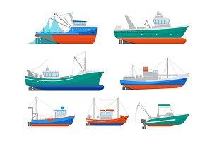 Cartoon Fishing Boats  Set. Vector