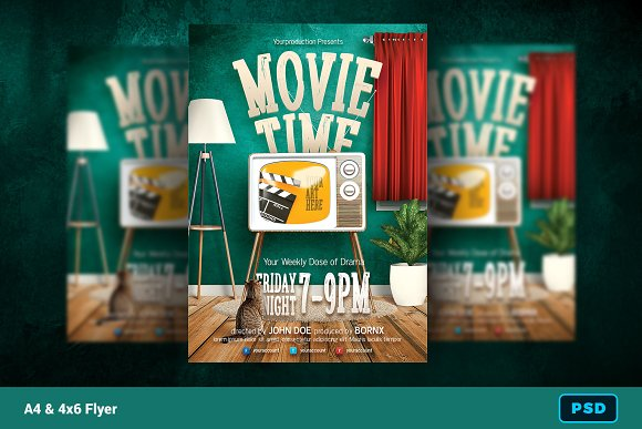 movie time flyer template flyer templates creative market