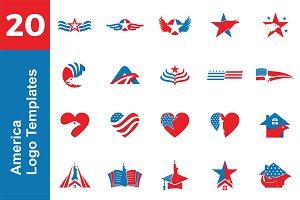 20 Logo America Templates Bundle