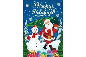 Santa with pine tree, gifts, snowman