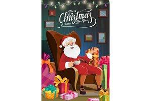 Christmas holiday Santa sit in chair