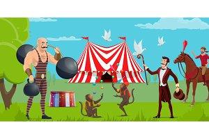 Funfair, circus tent, performers