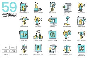 59 Copyright & Law Icons | Aqua