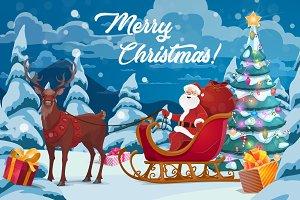 Santa, gifts, tree, reindeer sleigh
