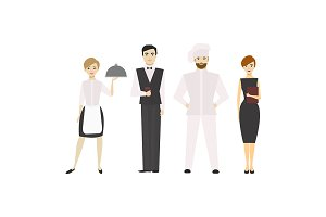 Cartoon Restaurant Staff Set