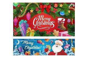 Christmas tree, Santa, gifts socks