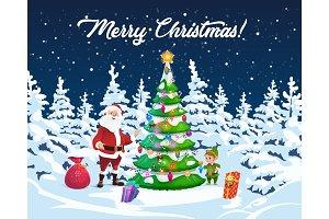 Christmas tree, Santa and elf