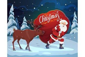 Santa, Christmas reindeer, gift bag
