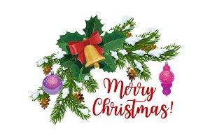 Christmas fir branch and jingle bell