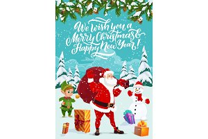 Winter Santa and elf, snowman