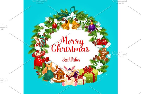 christmas greetings in fir wreath illustrations creative market