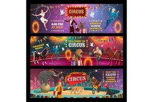 Circus clown, magician and acrobats
