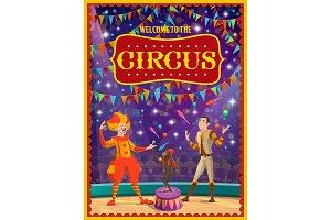 Circus clown and juggler, monkey