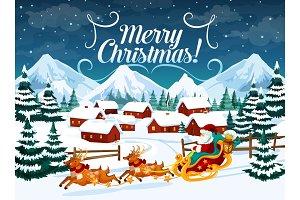Winter town, Santa sleigh and deers