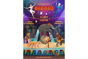 Acrobats and animals, circus