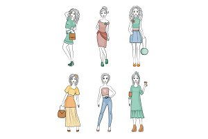 Fashion girls characters. Cute