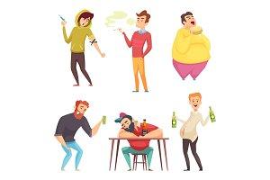 Addicted lifestyle. Alcoholism drugs