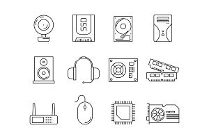 Hardware pc components. Symbols of