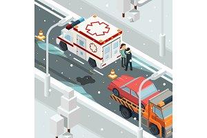 Urban accident crash cars. Winter