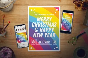 Rainbow New Year Flyer Set