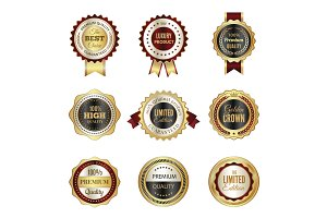 Golden labels badges. Premium
