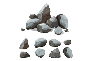 Cartoon mountain stones. Rocky big