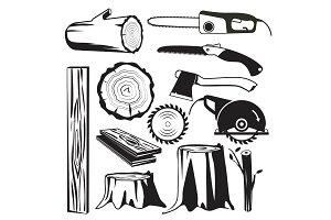 Wood trunks black. Wooden industry