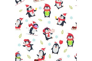 Pinguin seamless pattern. Cartoon