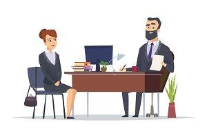 Job interview. Business office