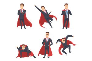 Businessman superheroes. Office