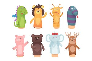 Hands puppets. Toys from socks for