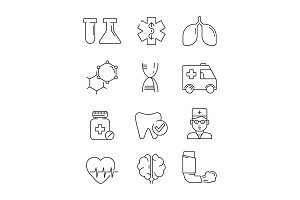 Medical icons. Surgery anatomy