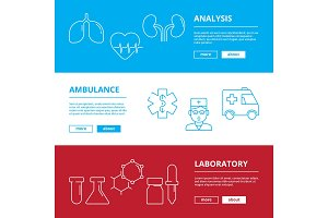Medical web banners. Healthcare