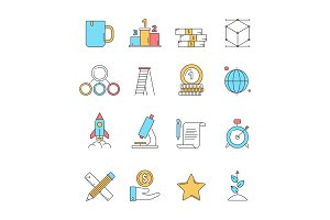 Colored startup icons. Business plan