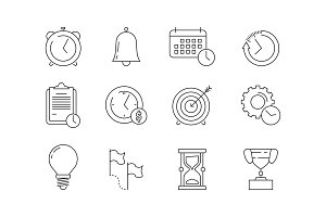 Time management icons. Reminder