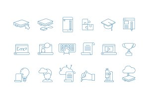 Online education icons. Training