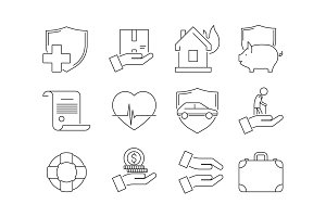Insurance thin icons. Business