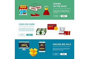 Online shopping banners. E-commerce