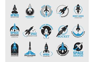 Rocket logo. Space satelite retro