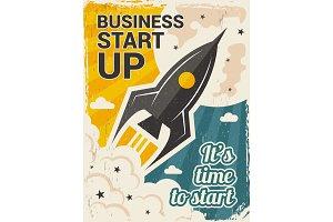 Vintage startup poster. Business